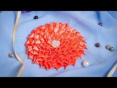 Плоский Цветок Канзаши МК / DIY Kanzashi / Tutorial - YouTube