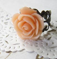 Peach Flower Cameo Ring - Filigree Rose Cabochon. £4.00, via Etsy.