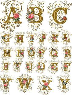 в копилку декупажницам принты шаблоны викторианские цветы.. Обсуждение на LiveInternet - Российский Сервис Онлайн-Дневников Calligraphy Fonts Alphabet, Tattoo Lettering Fonts, Lettering Styles, Handwriting Fonts, Hand Lettering, Alphabet Style, Victorian Valentines, Embroidery Letters, Creative Lettering
