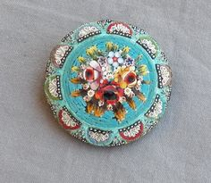 Vintage Antique Flower Bouquet Micro Mosaic Brooch Pin