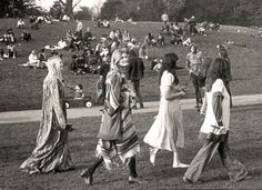 concert goers...this looks like hippie hill in Golden Gate Park...fun place back in the days!!!
