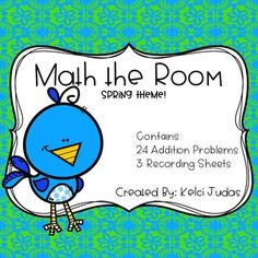 Math the Room is a similar setup to Write the Room.  Students get a recording sheet and then search for the math problems around the room.  They record the answer by matching the picture on the card to the corresponding box on the recording sheet.Prep: Simply print, laminate for durability, and cut out the cards.
