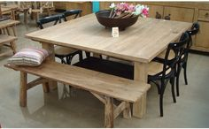 Exquisite Square Dining Table from Solid Wood: Rustic Oak Square Dining Table With Bench And Chairs ~ sabpa.com Dining Room Designs Inspiration
