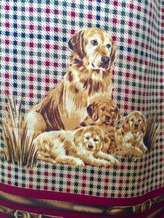 Golden-Retriever-Vintage-Scarf-Mother-Puppies-Silk-Oblong-Greens-Burgundy-Belts