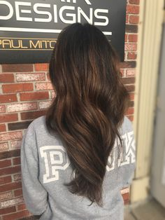 Dark brown black hair with honey caramel mocha chocolate rich brown balayage highlights for Caucasian Hispanic Asian Indian ethnic hairtypes