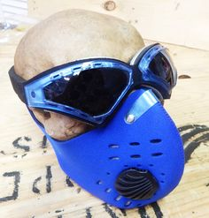 BURNING MAN, Wasteland, Mad Max - 2 pc set Blue Neoprene Filter Lined Riding Dust Mask with Tear Drop Steampunk Goggles - Burning Man Mask by jadedminx on Etsy