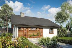 Projekt domu parterowego Remik Max o pow. 93,15 m2 z dachem dwuspadowym, z tarasem, sprawdź!