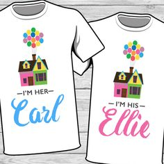 Disney Up Iron on transfer! So cute! I'm her Carl, I'm his Ellie. Disney Up couple shirt