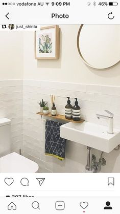 Kleine badezimmer design towel holder ideas for WC - # ideas - Vacuum Small Downstairs Toilet, Small Toilet Room, Guest Toilet, Downstairs Bathroom, Bad Inspiration, Bathroom Inspiration, Reece Bathroom, Wc Decoration, Tiny Powder Rooms