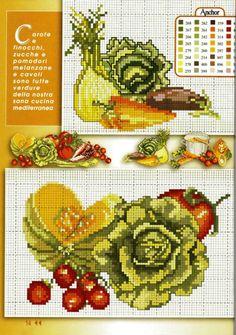 gráficos ponto cruz de cozinha. Cross Stitch Charts, Cross Stitch Designs, Cross Stitch Patterns, Cross Stitch Fruit, Cross Stitch Kitchen, Cross Stitching, Cross Stitch Embroidery, Seed Packaging, Chart Design