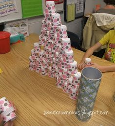 Articulation Therapy: 5 Activities to Elicit 100+ Trials - Sound Tower with Dixie Cups and Pringles can