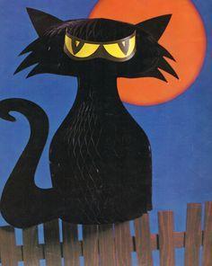 Vintage BLACK CAT HALLOWEEN Decoration Diecut,Honeycomb Tissue PARTY MAGIC  BUZZA