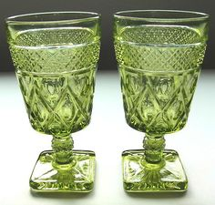 I found 8 of these at Goodwill!!  Imperial Cape Cod Verde Green Glass Goblets