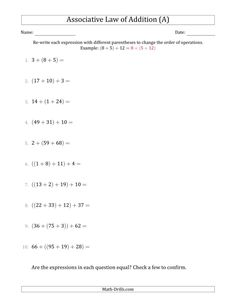 The Associative Law Of Addition Whole Numbers Only A Math Worksheet From The Algebra Workshee Associative Law Word Family Worksheets Properties Of Addition