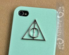 Harry Potter Deathly Hallows Iphone Case, Light Green Iphone 4 case, Iphone 4s Case, iphone case Cover, Hard case. $8.99, via Etsy.
