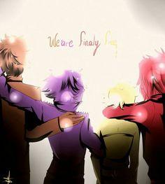 We are finally free, text, sad, Freddy, Bonnie, Chica, Foxy, human form, Anime boy, anime girl; Five Nights at Freddy's