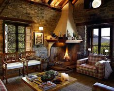 Rustic interior with fire place
