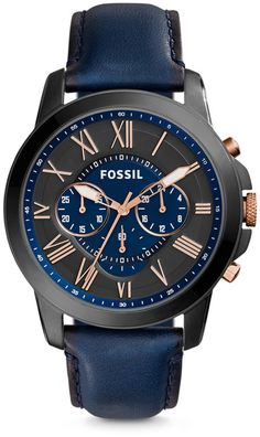 848625badb40 Fossil Grant Chronograph Navy Leather Watch