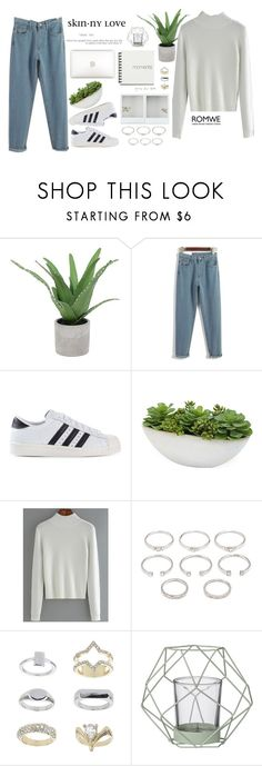 """""""#Romwe"""" by credentovideos ❤ liked on Polyvore featuring Threshold, adidas Originals, Distinctive Designs, Forever 21, Topshop, Bloomingville and vintage"""