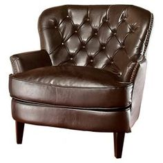 """Tufted bonded leather accent chair with nailhead trim.Product: Chair     Construction Material: Hardwood frame and bonded leather upholstery    Color: Brown and espresso      Features:       Diamond tufted back   Padded seat and back for easy relaxation   Wide stance for extra comfort         Dimensions: 34.6"""" H x 33.7"""" W x 34.6"""" D        Note: Assembly required"""