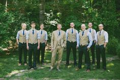 Southern wedding - groomsmen in vests