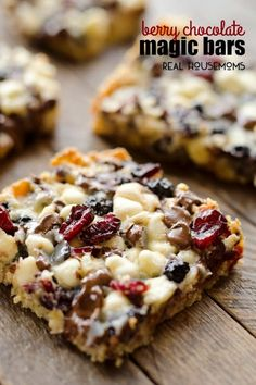 Berry Chocolate Magic Bars with Butter, Quick Oats, Brown Sugar, Salt, Sweetened Condensed Milk, Dried Blueberries, Dried Cranberries, White Chocolate Chips, Semi Sweet Chocolate Chips.