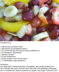 Best Fruit Salad Ever! This was yummy. Use the juice from the cans. It made a big difference. Made for Mothers Day 2013.