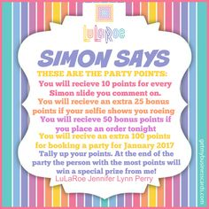 Simon Says game (slide 2) by LuLaRoe Jennifer Lynn Perry