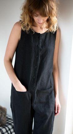 Black Linen Jumpsuit - Women Sleeveless Overall - Linen Romper - Handmade by OFFON Asos Jumpsuit, Ladies Jumpsuit, Red Jumpsuit, Look Fashion, Fashion Outfits, Mode Plus, Jumpsuit Pattern, Black Linen, Sewing Clothes