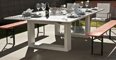 Outdoor concrete ping pong & dining table