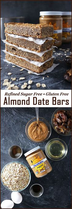 These refined sugar free, gluten free, Easy Date Almond Butter Bars are delicious slathered with almond butter and topped with sliced bananas for breakfast, afternoon tea or even dessert! Almond Bars, Oat Bars, Coconut Bars, Protein Snacks, Gluten Free Protein Bars, Paleo Dessert, Almond Butter Snacks, Almond Butter Granola Bars Recipe, Healthy Bars