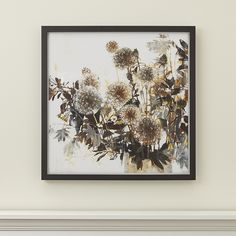 Liz Jardine captures the fading beauty of the oft-overlooked dandelion. Silhouetted foliage provides a dark and intricate backdrop to the flower's delicate, ethereal blooms, rendered in the gentle, brown tones of early autumn. The artist's original acrylic painting is brilliantly reproduced as a giclée print on paper, framed under glass in sustainable New Zealand pine painted matte black.