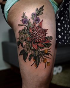 2d0304e3b Love tattooing native flowers! Red Waratah in the centre, Golden ...