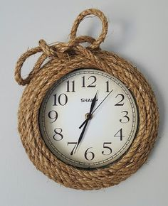 Nautical wall clock - jute rope, hot glue, inexpensive clock