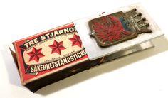 Vintage European Tre Stjarnor Match Box Sweden, Metal Holder w Eagle Crown Crest