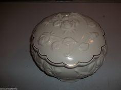 White Ceramic Rose Trinket Box with Gold Trim