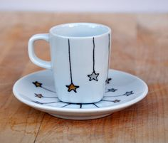 Winter Stars Porcelain Espresso Cup and Saucer by PictureInADream, $12.00