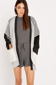 Light Before Dark Ribbed Stitch Cardigan - Urban Outfitters
