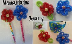 FLORES DE CORDON PARA DECORAR LAPICES O PLUMAS, DIADEMAS, BROCHES Y DEMAS.