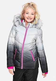 7f6afd701b03da Justice Girls OMBRE Black Hooded Winter Warm Puffer Jacket Coat SOLD OUT  Size 8  Justice