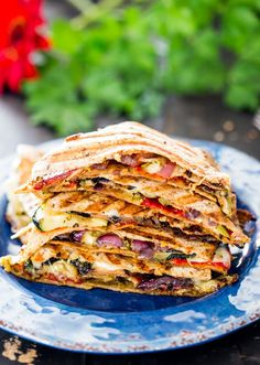 Grilled Vegetable Quesadillas with fresh mozzarella cheese and pesto - using fresh ingredients found at your local market, these quesadillas are perfect.