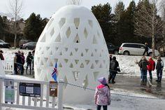 Egg Snow Sculpture - International Snow Sculpture Festival