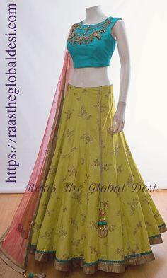 Chaniya choli 2018 Buy online beautiful designer collection -ghaghra choli navratri collection at best prices at RAAS THE GLOBAL DESI . Half Saree Designs, Choli Designs, Lehenga Designs, Blouse Designs, Blouse Patterns, Dress Designs, Art Designs, Lehnga Dress, Lehenga Gown