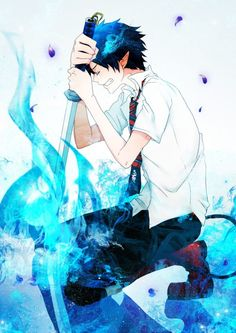 "blue exorcist rin okumura he has lost some precious in his heart but, "" we are always with u in spirit rin,"" Kuro Ao No Exorcist, Blue Exorcist Anime, The Exorcist, Rin Okumura, Anime Style, Manga Anime, Anime Art, Anime Pictures, Cute Disney"