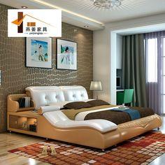 China muebles del dormitorio Minimalista moderno cama de cuero cama Tatami doble Ancho de cama incluye 1.5 metros y 1.8 metros.