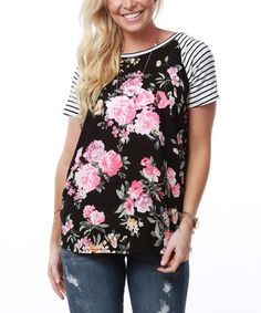 This Black Floral Raglan Tunic is perfect! #zulilyfinds