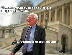 Bernie Sanders proposes to introduce the College for All Act which would make attendance of any four-year public college or university free of charge for an American student who can meet admissions standards.. via policy.mic....THIS!