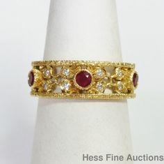 Genuine Buccellati Designer Wide Filigree Fine Diamond Ruby Ring Size 7  #Buccellati #Band