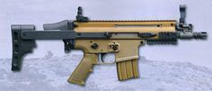 SCAR PDW [Personal Defense Weapon] a mm, compact weapon, using SCAR components, a very short barrel and a collapsing buttstock. A regular SCAR buttstock can be used instead. Zombie Guns, Fn Herstal, Fn Scar, Ar Pistol, Battle Rifle, Home Protection, Custom Guns, Military Gear, Assault Rifle