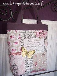 sac cabas zippé mauve rose violine papillon jaune